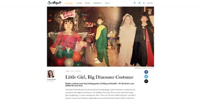 Image of the author as a child wearing various Halloween costumes such as a dinosaur bag of jelly beans and vampire