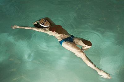 Self portrait of Julianne Aguilar in a pool in Albuquerque