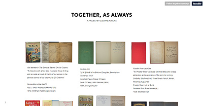 Screenshot of a Tumblr website with iamges of books with handwritten inscriptions inside