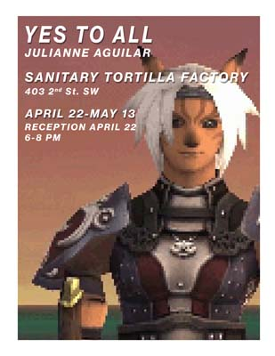 Flyer for an art exhibition by Julianne Aguilar about Final Fantasy XI